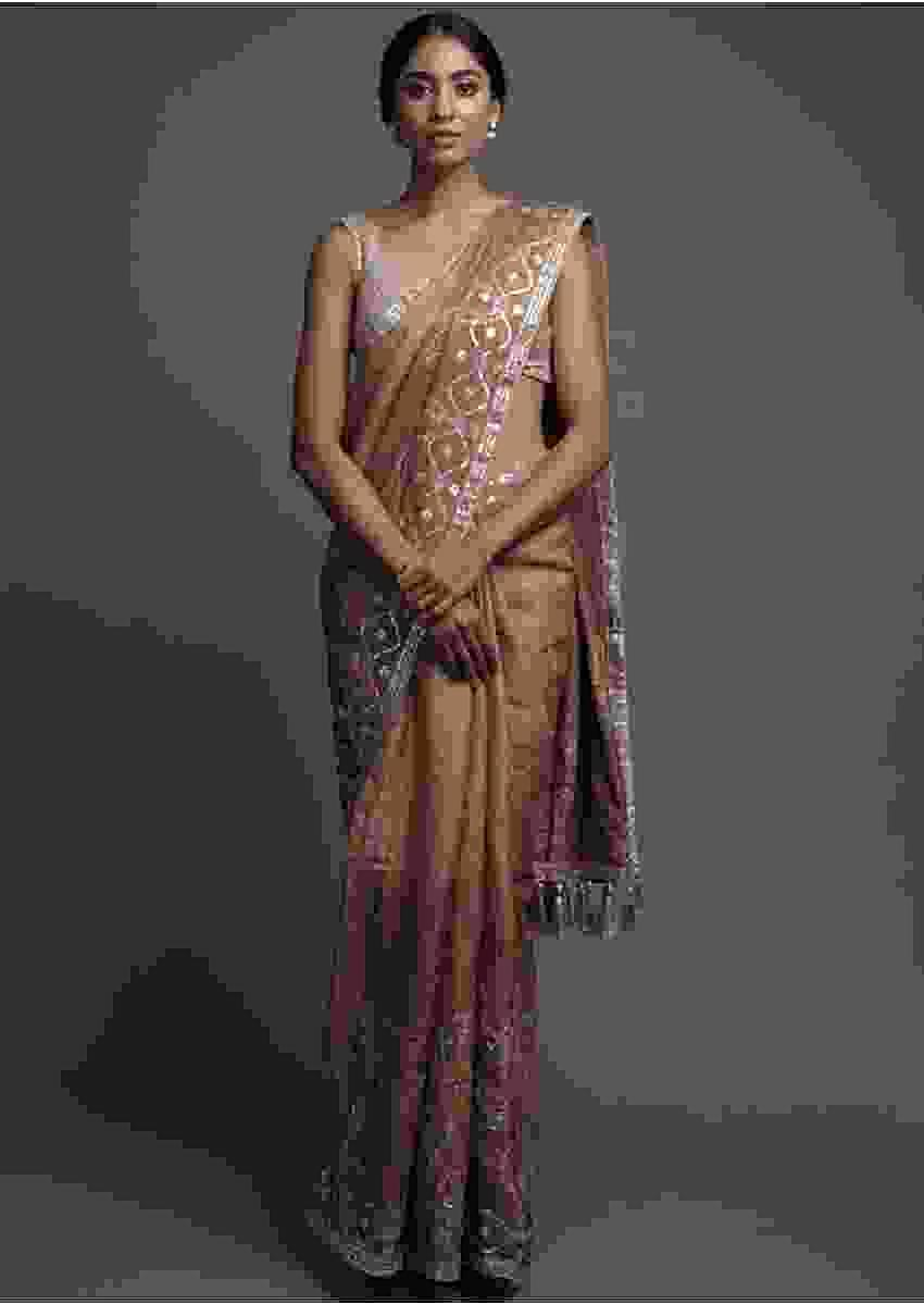 Cappuccino Beige Shaded Bandhani Saree In Tussar Silk With Gotta Work Online - Kalki Fashion