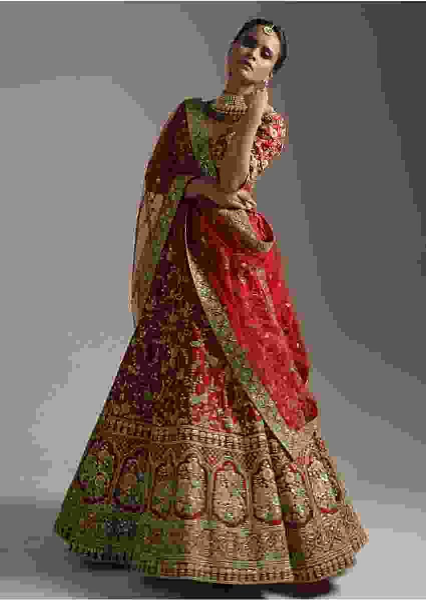 Carmine Red Lehenga Choli In Raw Silk With Zari Embroidered Floral Jaan And Resham Mughal Motifs Online - Kalki Fashion