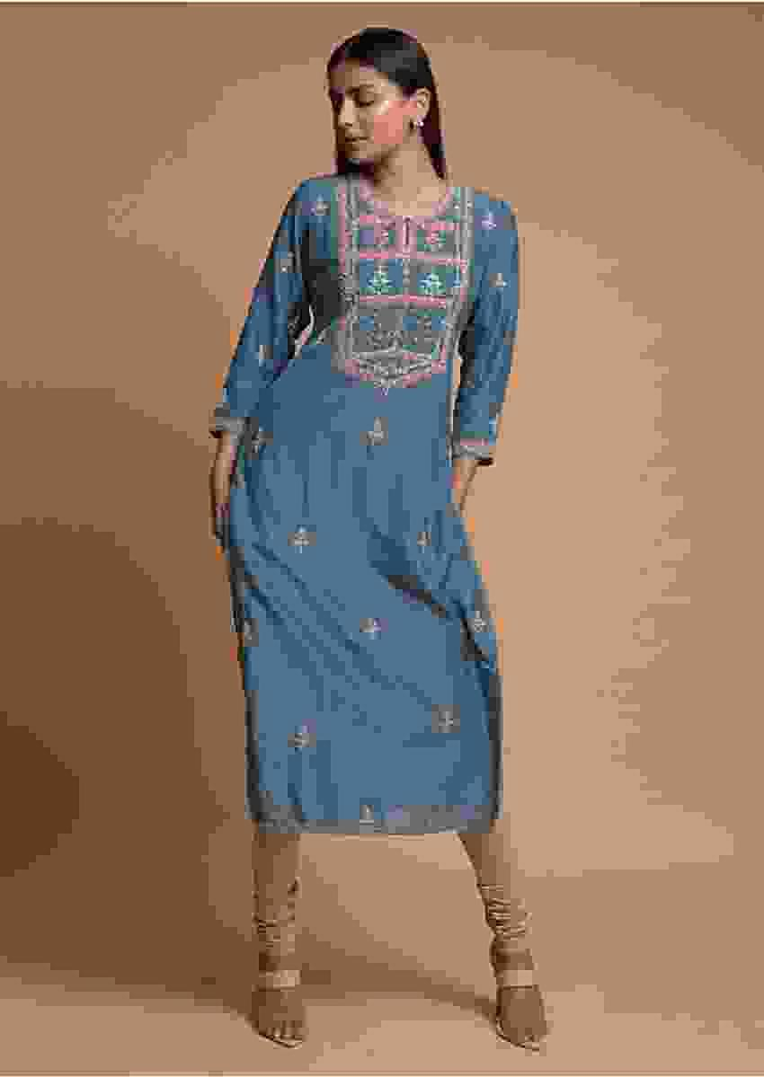 Carolina Blue Kurti With Colorful Thread Embroidered Yoke And Buttis Online - Kalki Fashion