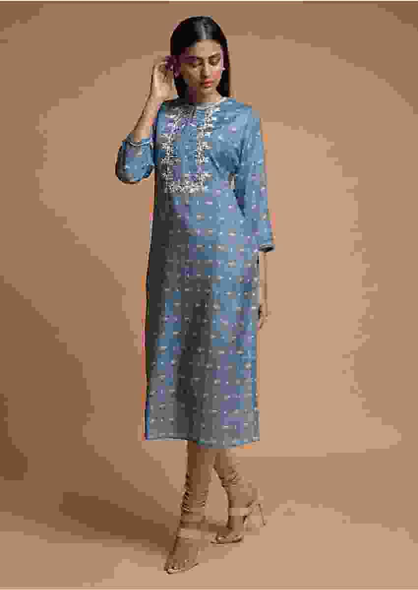 Carolina Blue Kurti In Cotton Blend With Floral Printed Buttis Online - Kalki Fashion