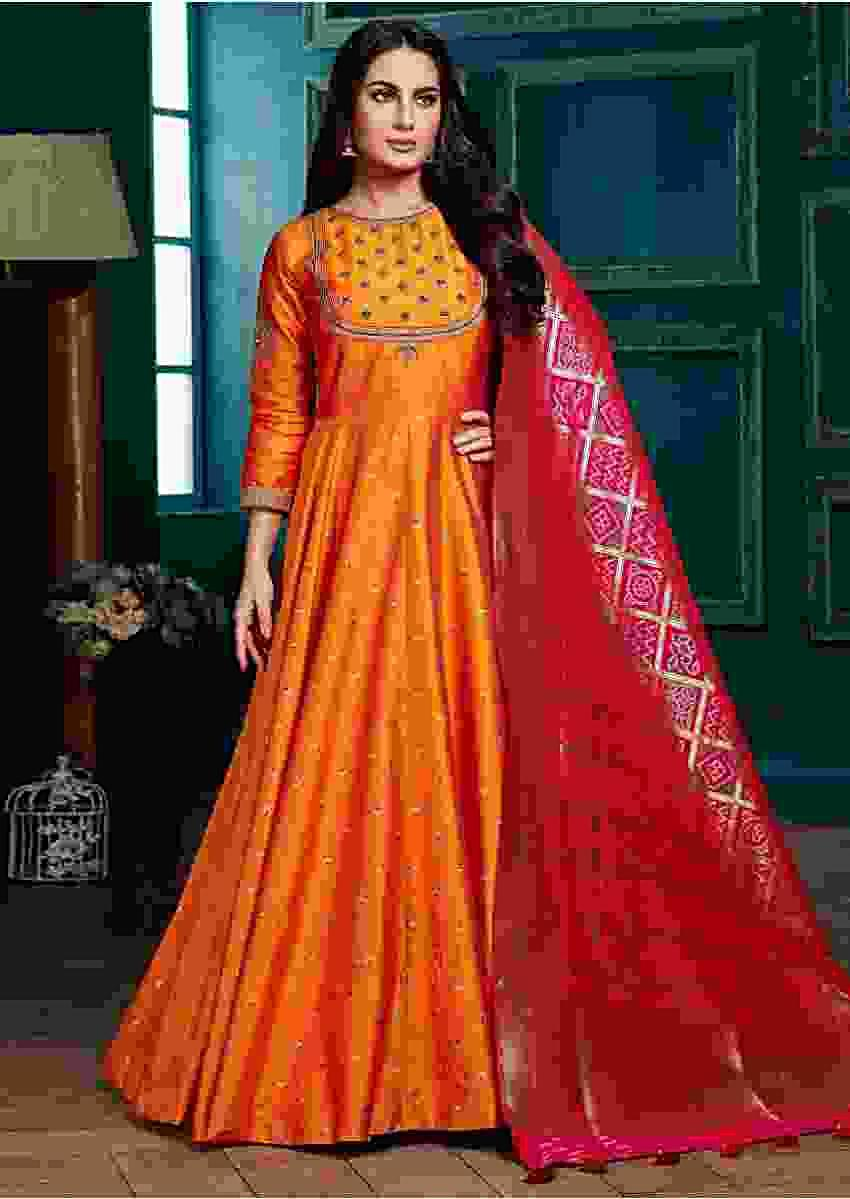 Carrot Orange Anarkali Suit With Weaved Buttis And Fuchsia Pink Banarasi Dupatta Online - Kalki Fashion