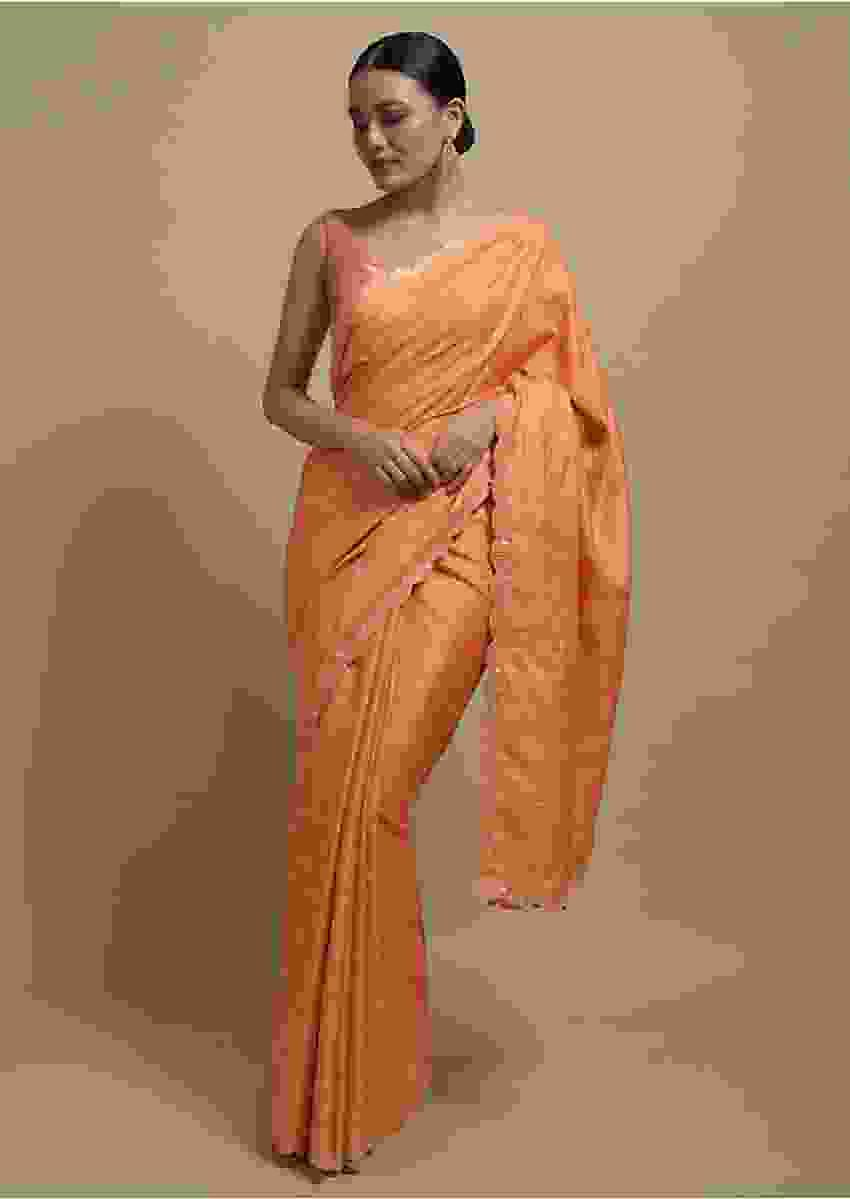 Carrot Orange Checks Saree With Abla Work On The Borders Online Kalki Fashion