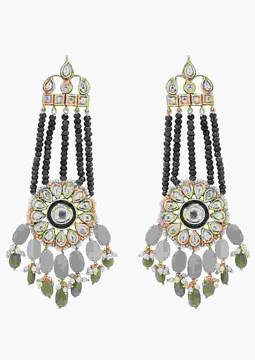 Chandelier With Green Jade And Kundan In Floral Design  Online - Joules By Radhika