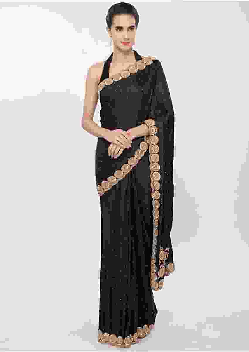 Charcoal Grey Satin Saree With Cut Dana, Moti And Kundan Embroidered Scallop Border Online - Kalki Fashion