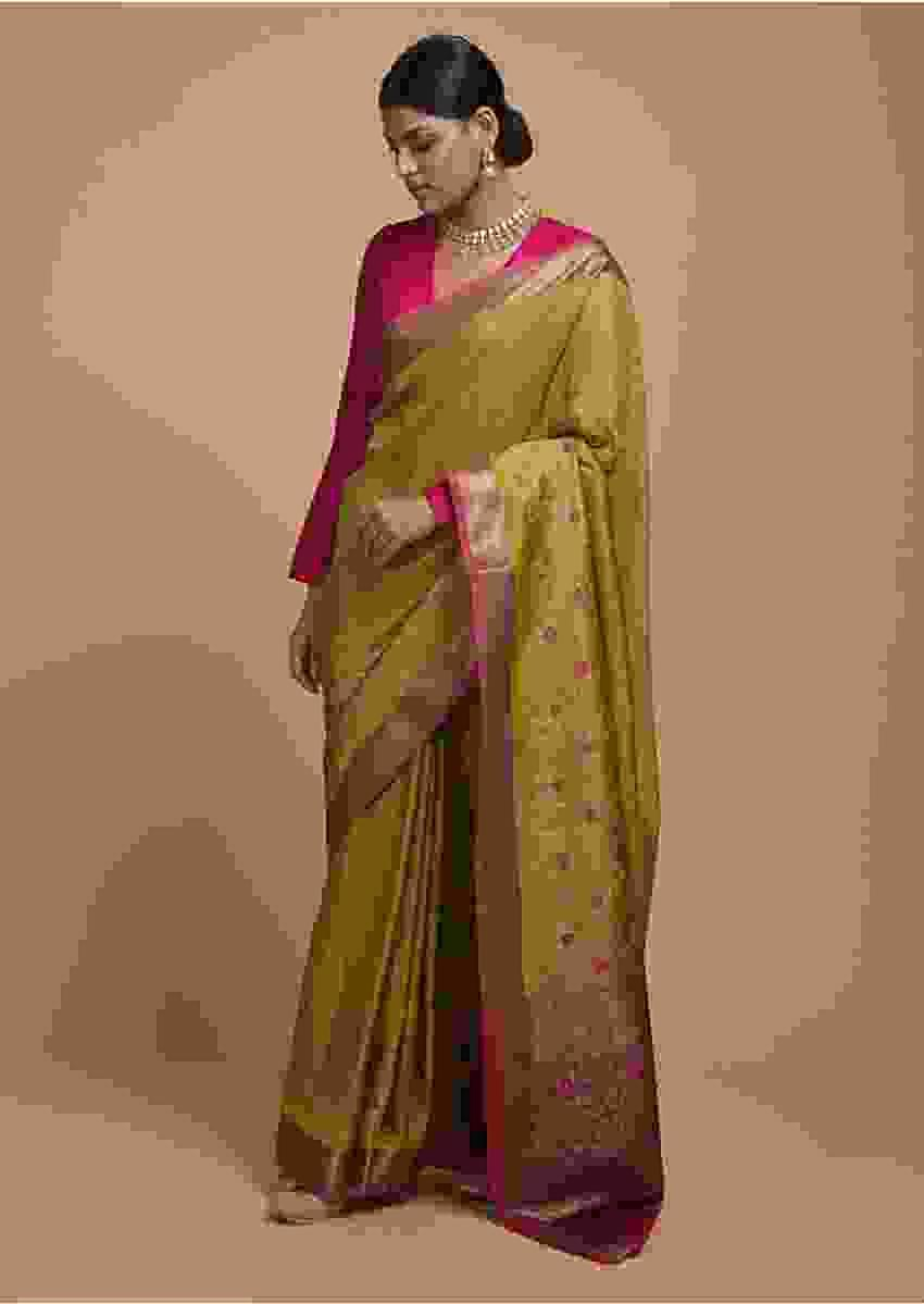 Chartreuse Green Pure Handloom Saree In Tussar Silk With Woven Floral Design On The Border And Pallu Online - Kalki Fashion