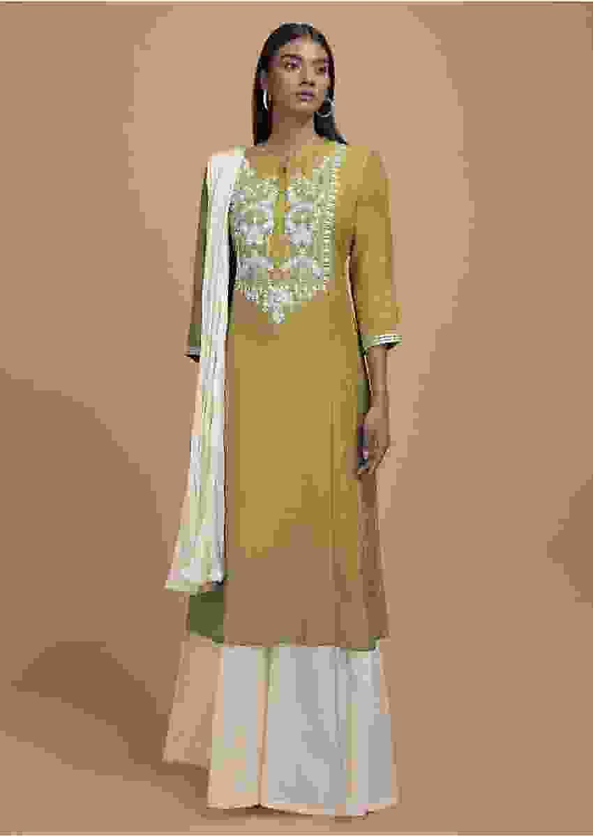 Chartreuse Green Palazzo Suit In Cotton Silk With Thread And Gotta Patch Embroidered Placket Online - Kalki Fashion