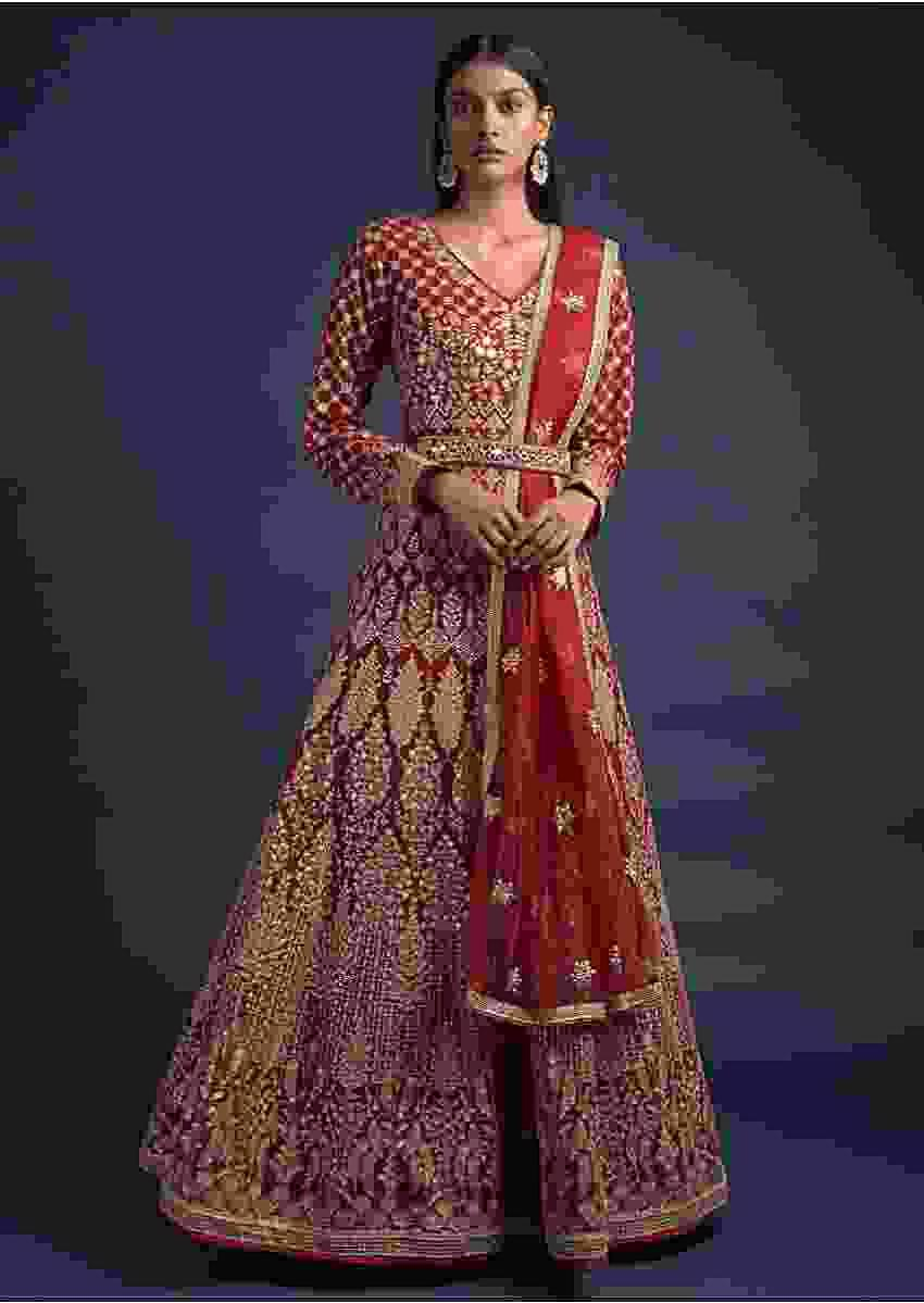 Cherry Red Anarkali Suit With Zari Embroidered Heritage Kalidar Pattern Online - Kalki Fashion
