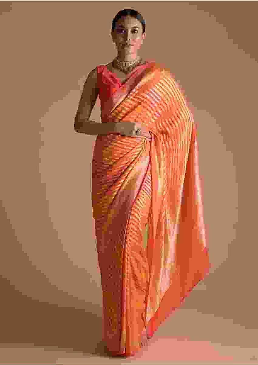 Chrome Yellow And Orange Shaded Khadi Georgette Saree With Weaved Work Online - Kalki Fashion