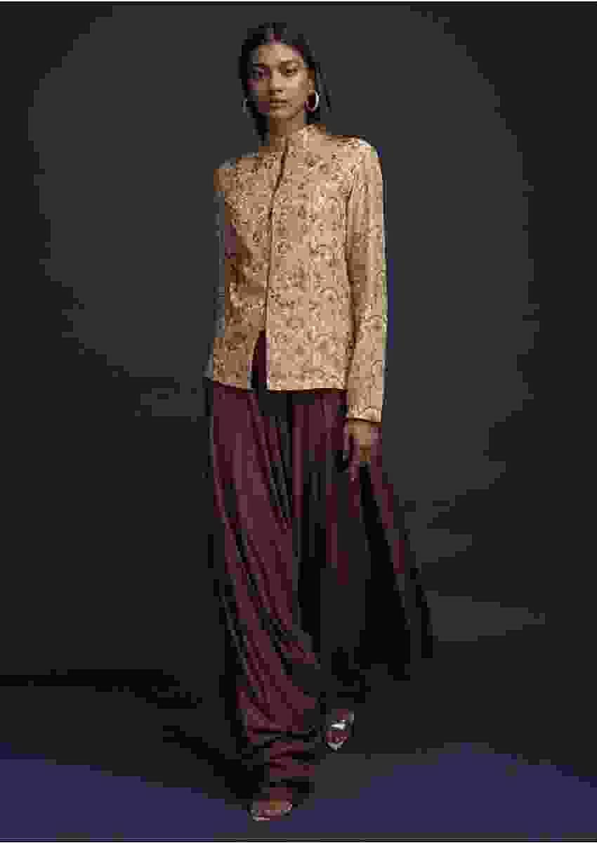 Cinnamon Brown Dhoti Suit In Cotton Paired With A Short Beige Kurti Having Scallop Print Online - Kalki Fashion