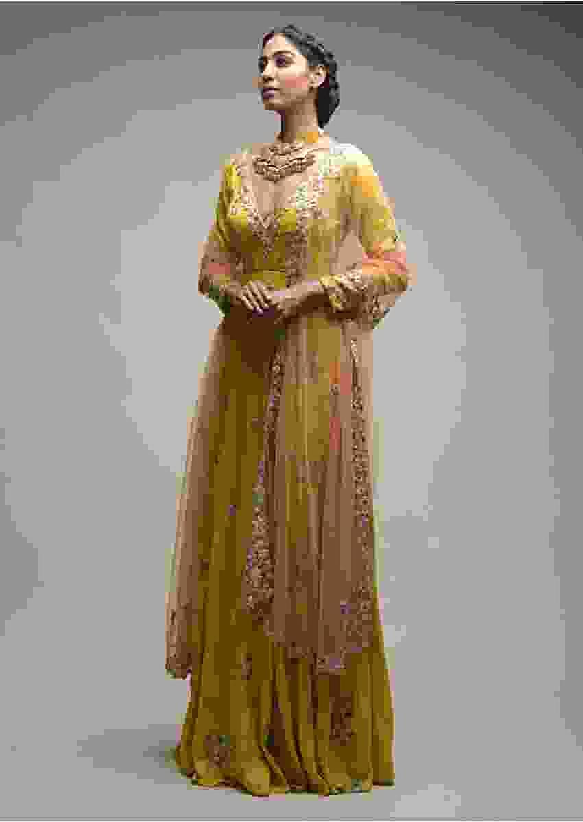 Citrus Anarkali In Raw Silk With Plunging V Neckline And Resham Embroidered Blossom Buttis Online - Kalki Fashion