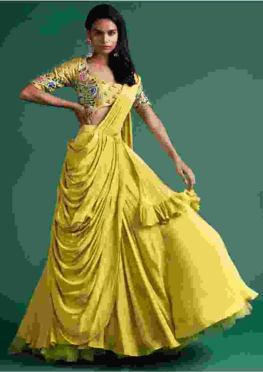 Citrus Green Layered Lehenga With Pre Stitched Pallo And Matching Embellished Crop Top Online - Kalki Fashion