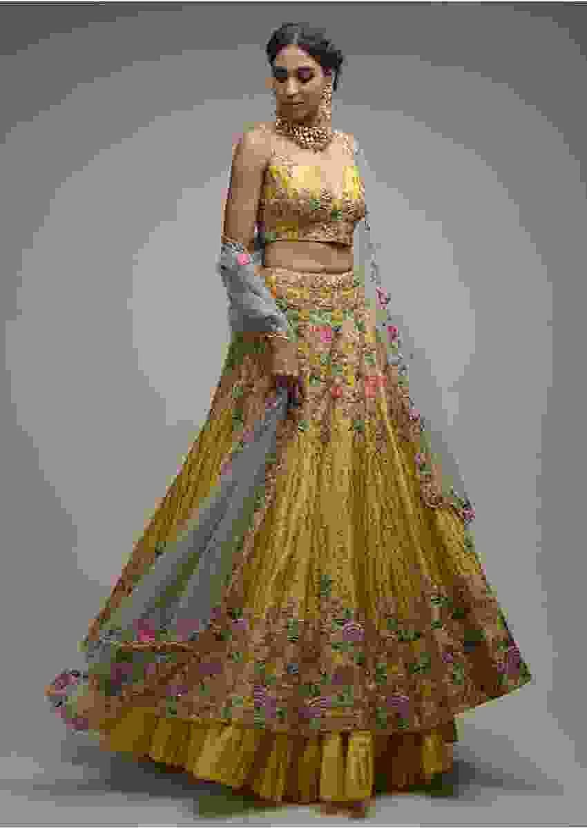 Citrus Lehenga Choli In Raw Silk With Resham Embroidered Spring Blooms And Geometric Pattern Online - Kalki Fashion