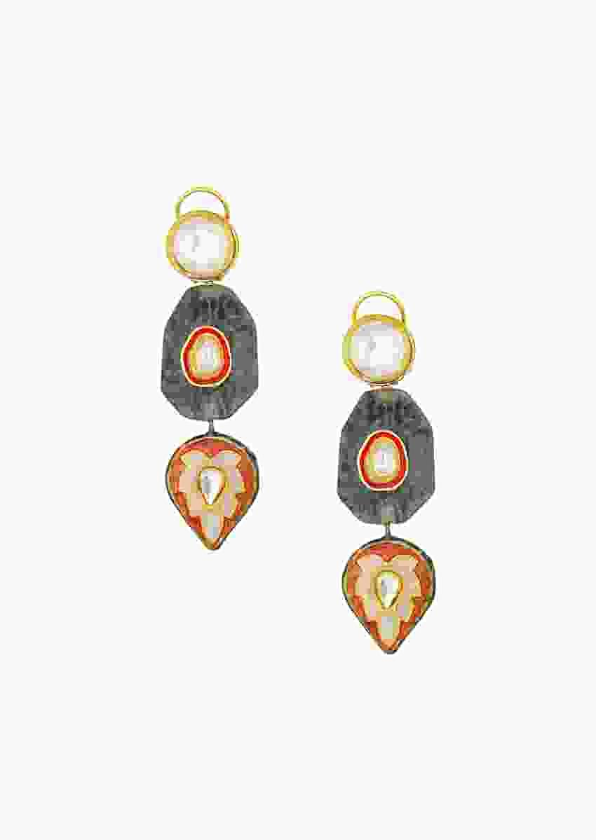 Classic Kundan Earrings With Enamel Work And Fiery Red And Black Agate Online - Joules By Radhika