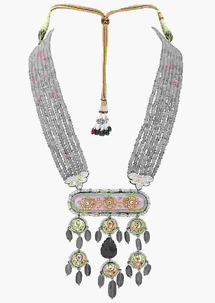 Classic Kundan Pendant Necklace With Pink Agate Bead Strings Online - Joules By Radhika