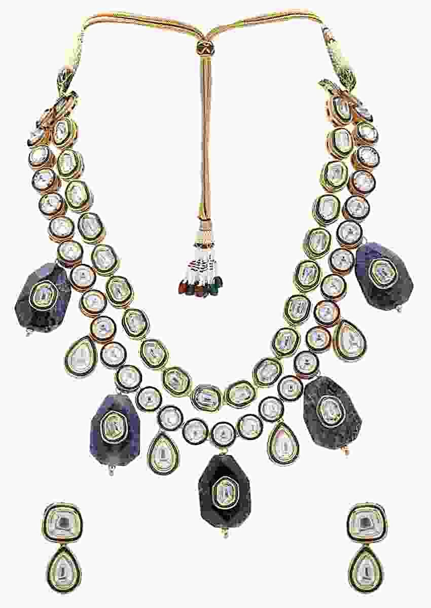Classic Layered Kundan Necklace And Earrings Set With Green Enamelling And  Black Agate Stones Online - Joules By Radhika