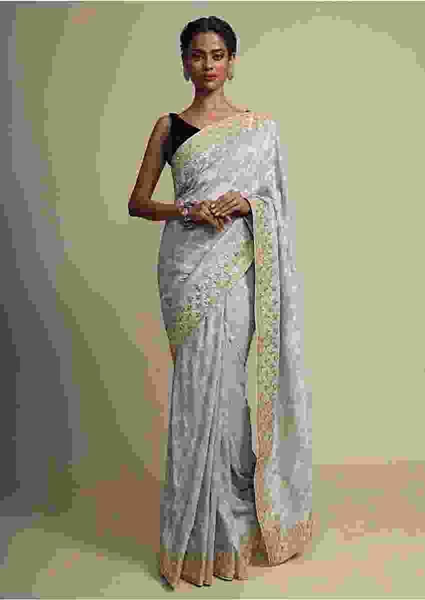 Cloud Grey Khadi Saree With Weaved Embroidery And Gotta EmbellishedBorder Online - Kalki Fashion