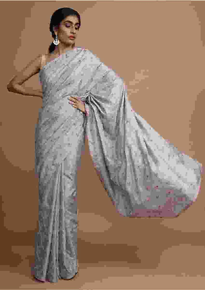 Cloud Grey Saree In Dola Silk With Colorful Thread Embroidered Floral Buttis And Zari Mesh Online - Kalki Fashion