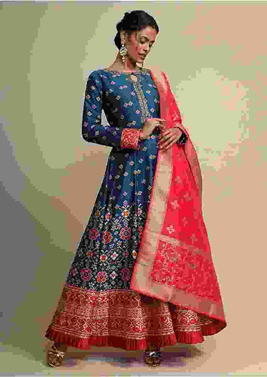 Cobalt Blue Anarkali Suit With Geometric Weave And Red Banarasi Dupatta Online - Kalki Fashion