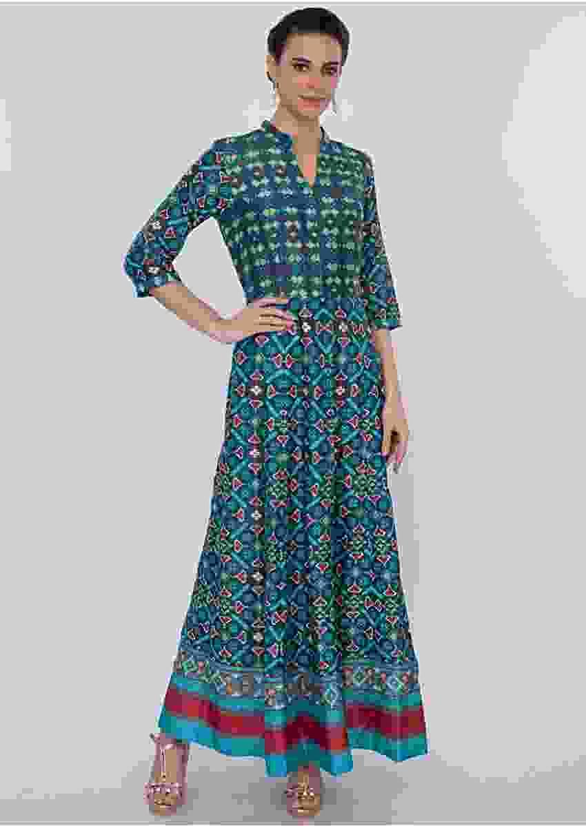Cobalt Blue Tunic Dress In Patola Print Online - Kalki Fashion