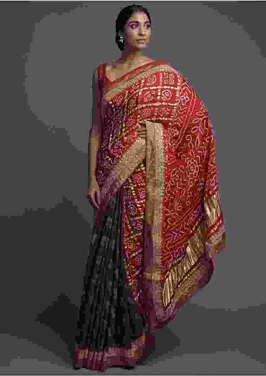 Coffee Brown And Red Half And Half Saree With Weaved Buttis And Bandhani Print Online - Kalki Fashion