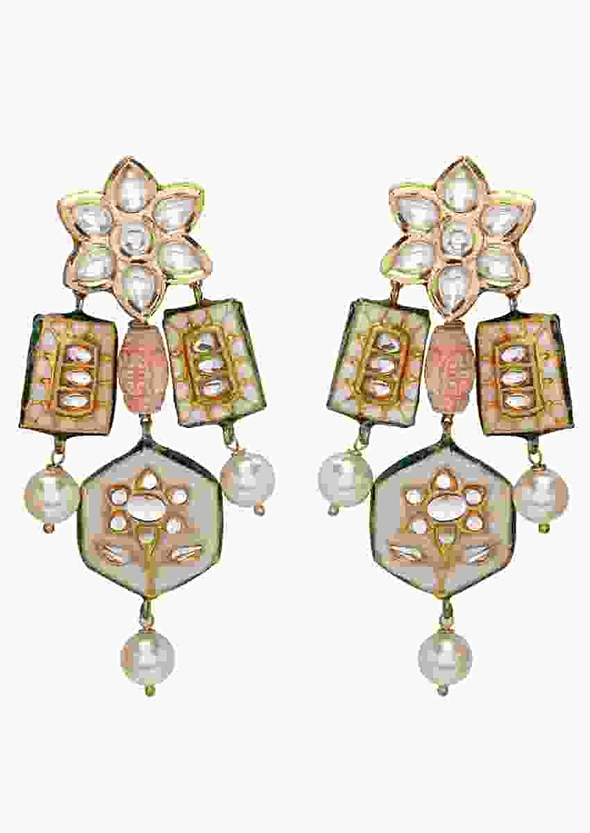 Contemporary Kundan Earrings With Floral Minakari, Coral Beads And Shell Pearls Online - Joules By Radhika