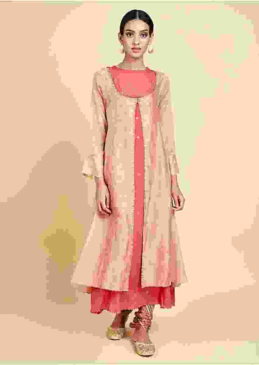 Coral A Line Suit With Sequins And Zari Embroidered Buttis And Peach Long Jacket Online - Kalki Fashion