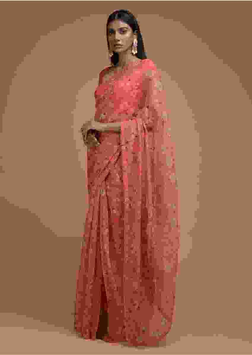 Coral Orange Saree In Organza With Floral Print And Cut Dana Trim On The Border Online - Kalki Fashion