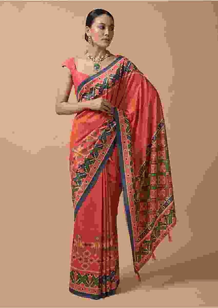 Coral Orange Saree In Silk With Printed Patola Design On The Border Online - Kalki Fashion