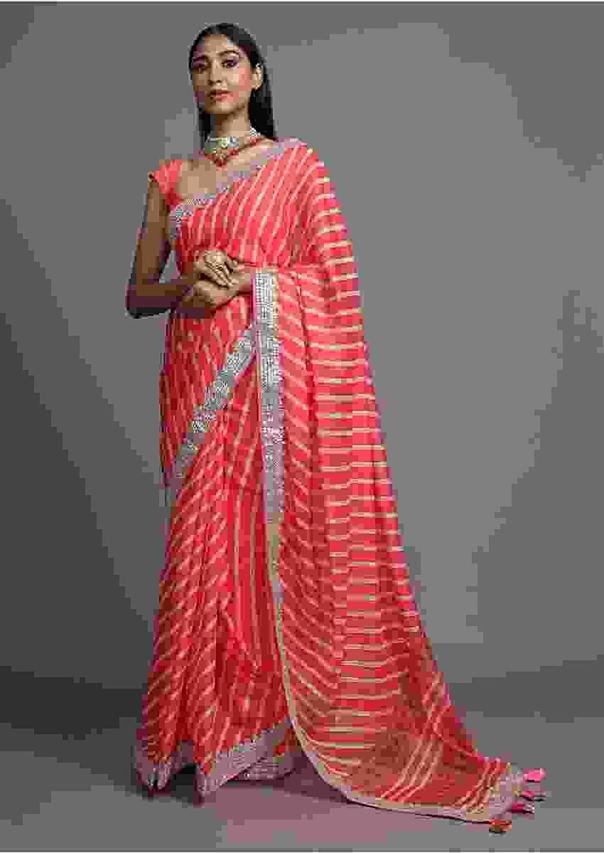 Coral Peach Saree With Lehariya Print And Paisley Motifs On The Pallu Along With Gotta Border Online - Kalki Fashion