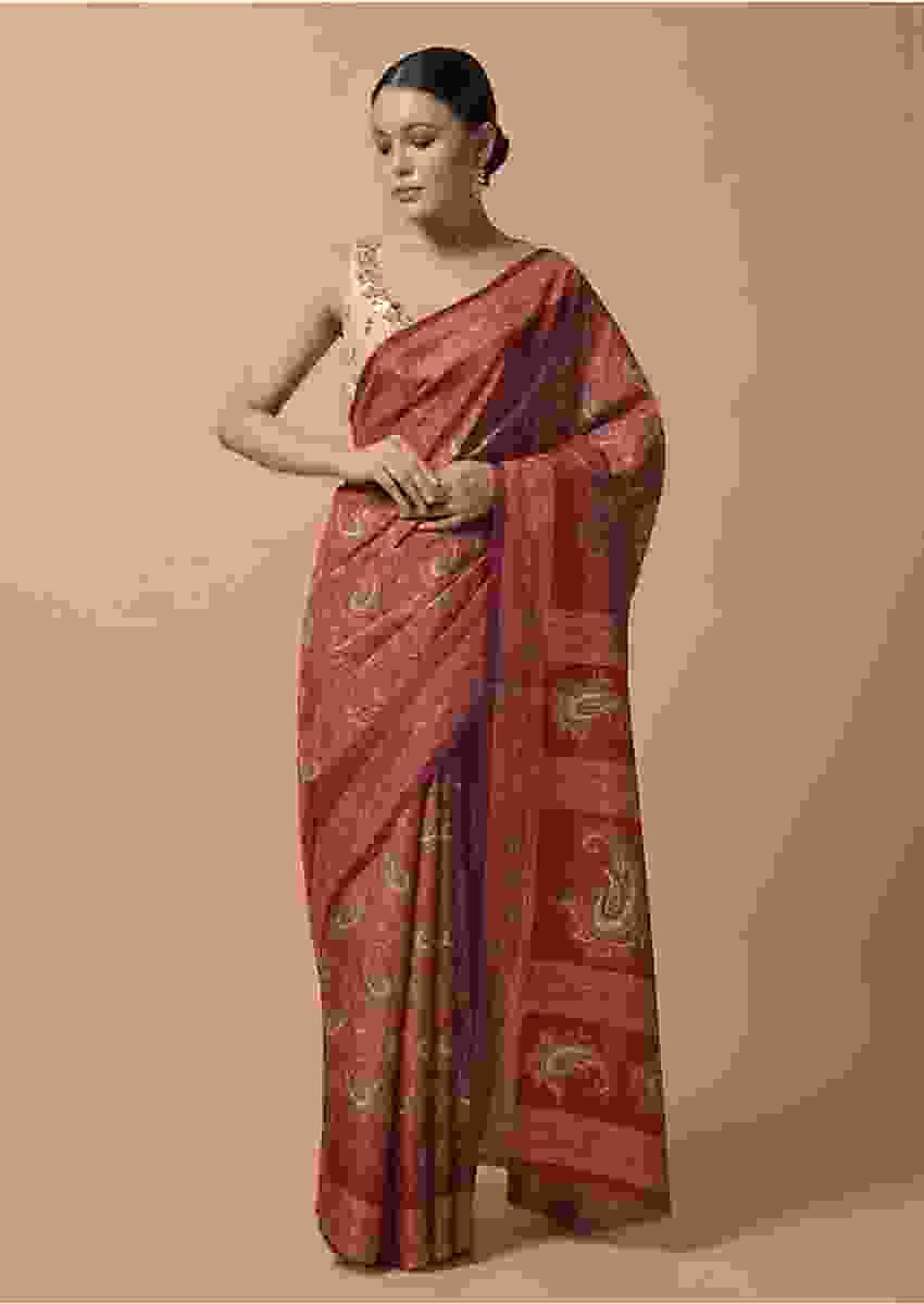Coral Red Saree In Silk With Printed Paisley Jaal Online - Kalki Fashion
