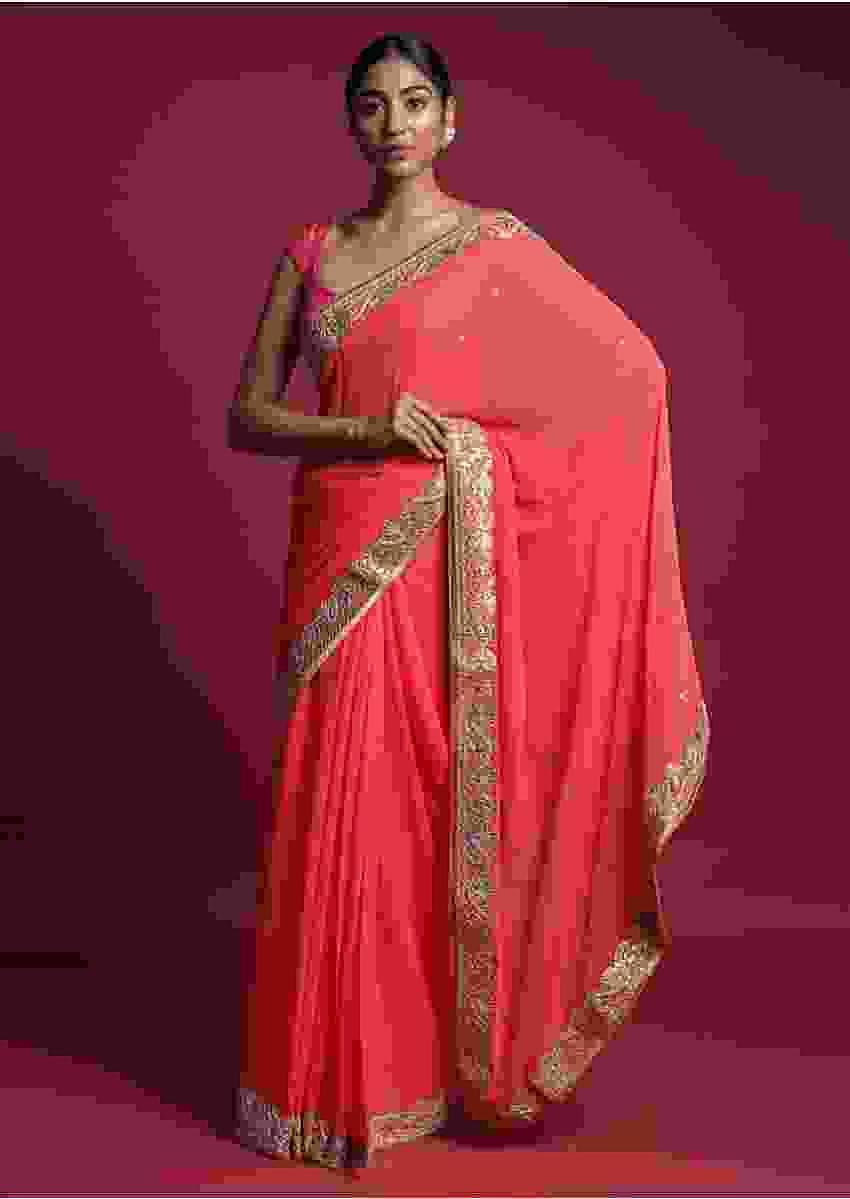 Coral Saree In Chiffon With Mirror Abla Buttis And Gotta Patch Embroidered Border Online - Kalki Fashion