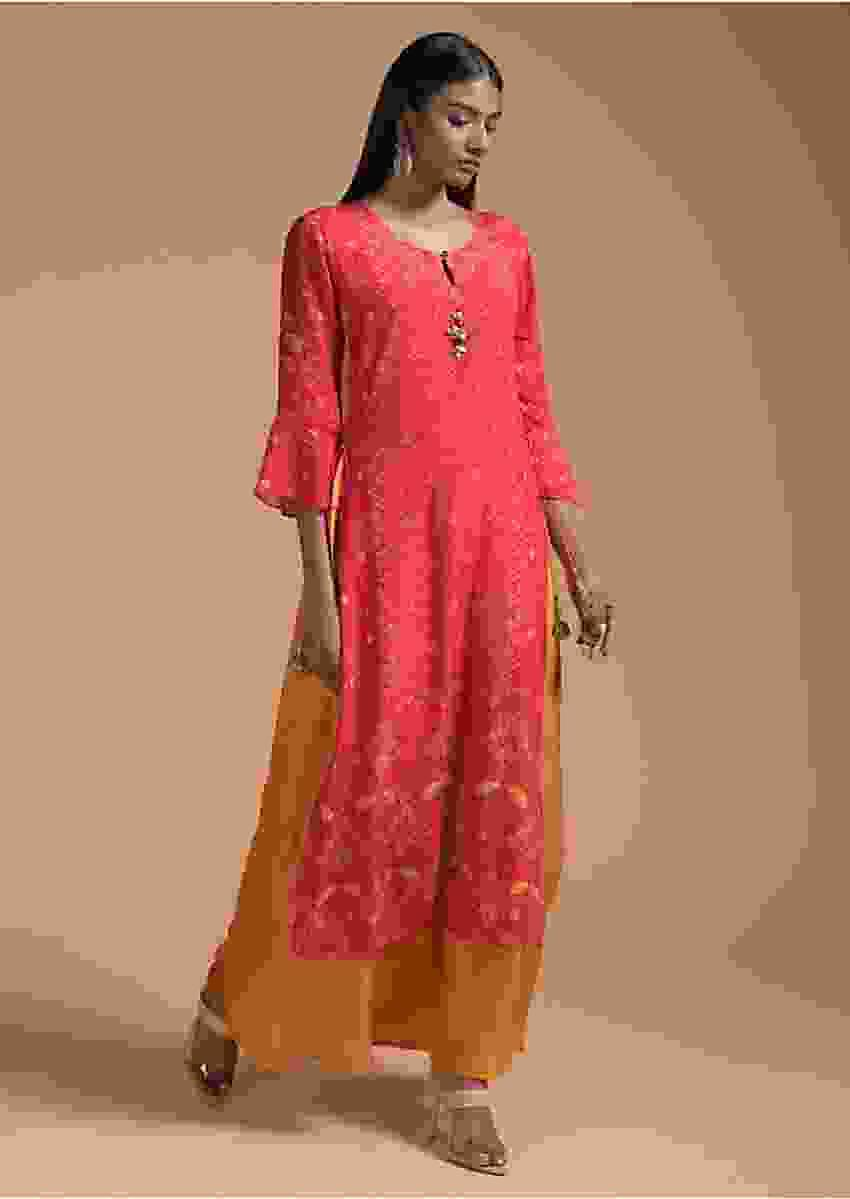Coral Tunic In Silk With Digital Print And Attached Mustard Underlayer Online - Kalki Fashion