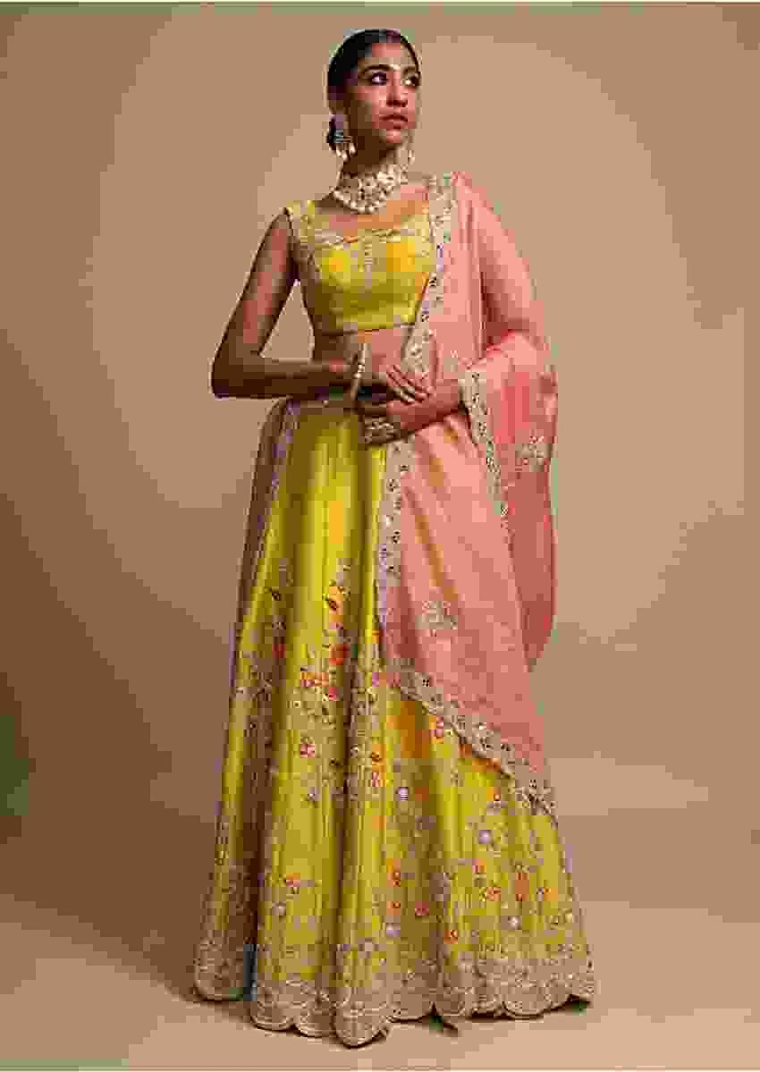 Corn Yellow Lehenga Choli With Zardozi And Thread Embroidered Fresh Floral Motifs Online - Kalki Fashion
