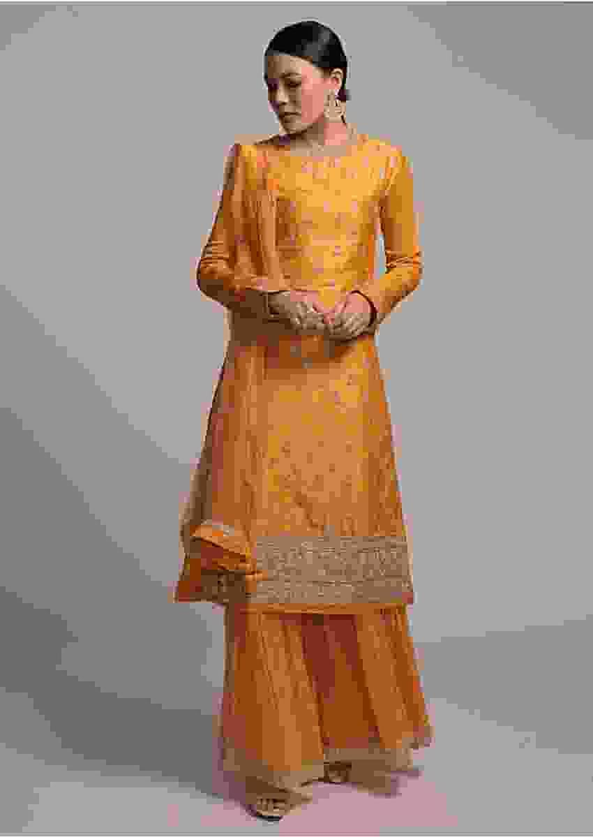 Corn Yellow Suit In Cotton With Zardosi Embroidered Buttis And Floral Border Online - Kalki Fashion