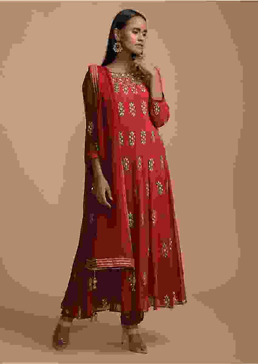 Cranberry Red Anarkali Suit In Georgette With Gotta Patti Embroidered Buttis Online - Kalki Fashion