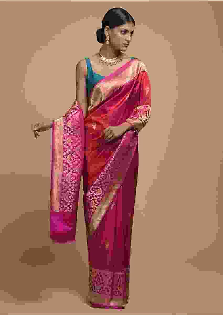 Cranberry Red Pure Handloom Saree In Silk With Woven Floral Buttis And Pink Moroccan Border Online - Kalki Fashion