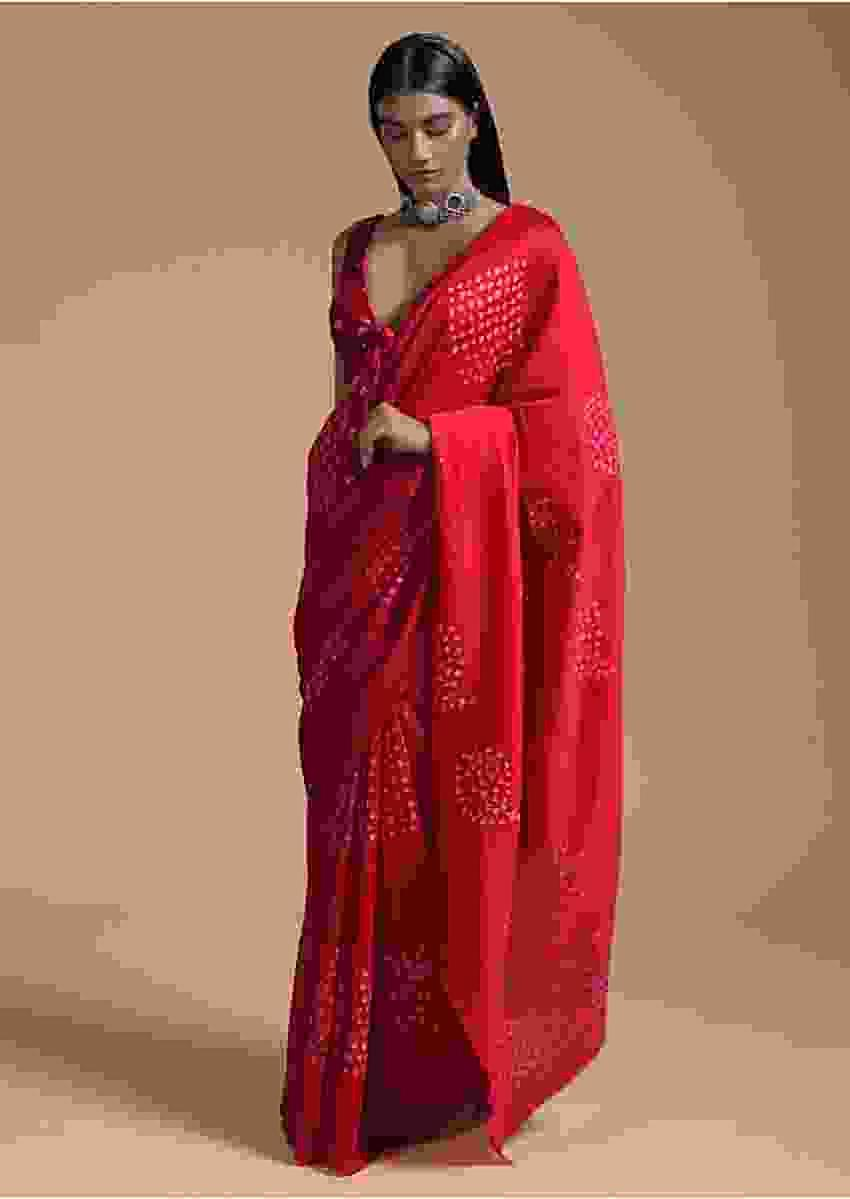 Cranberry Red Saree In Cotton With Bandhani In Geometric Design Online - Kalki Fashion