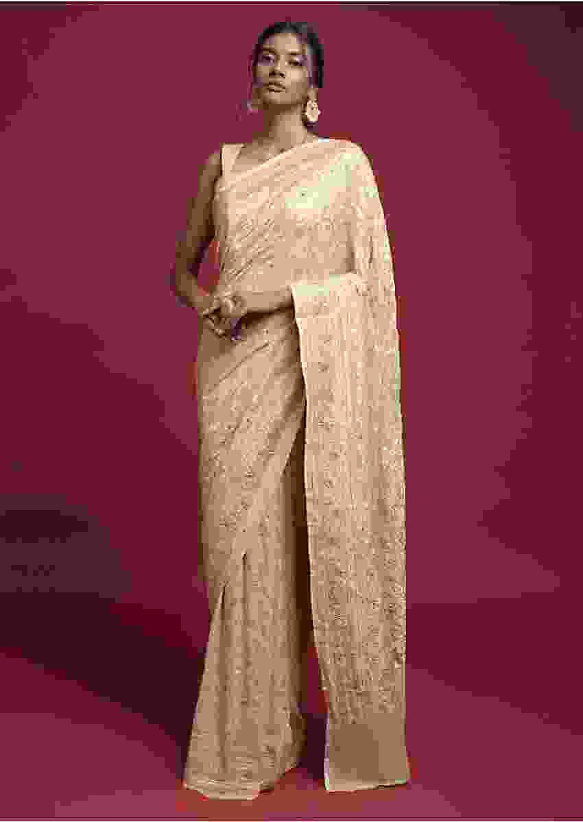 Cream Beige Saree In Georgette With Weaved Floral Jaal Online - Kalki Fashion