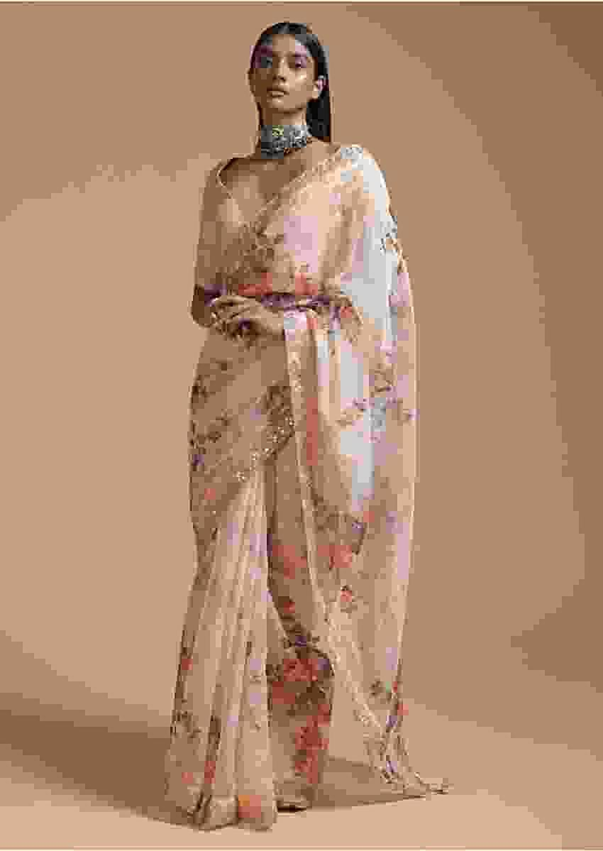 Cream Beige Saree In Organza With Floral Print And Gotta Patti Embroidered Border Online - Kalki Fashion