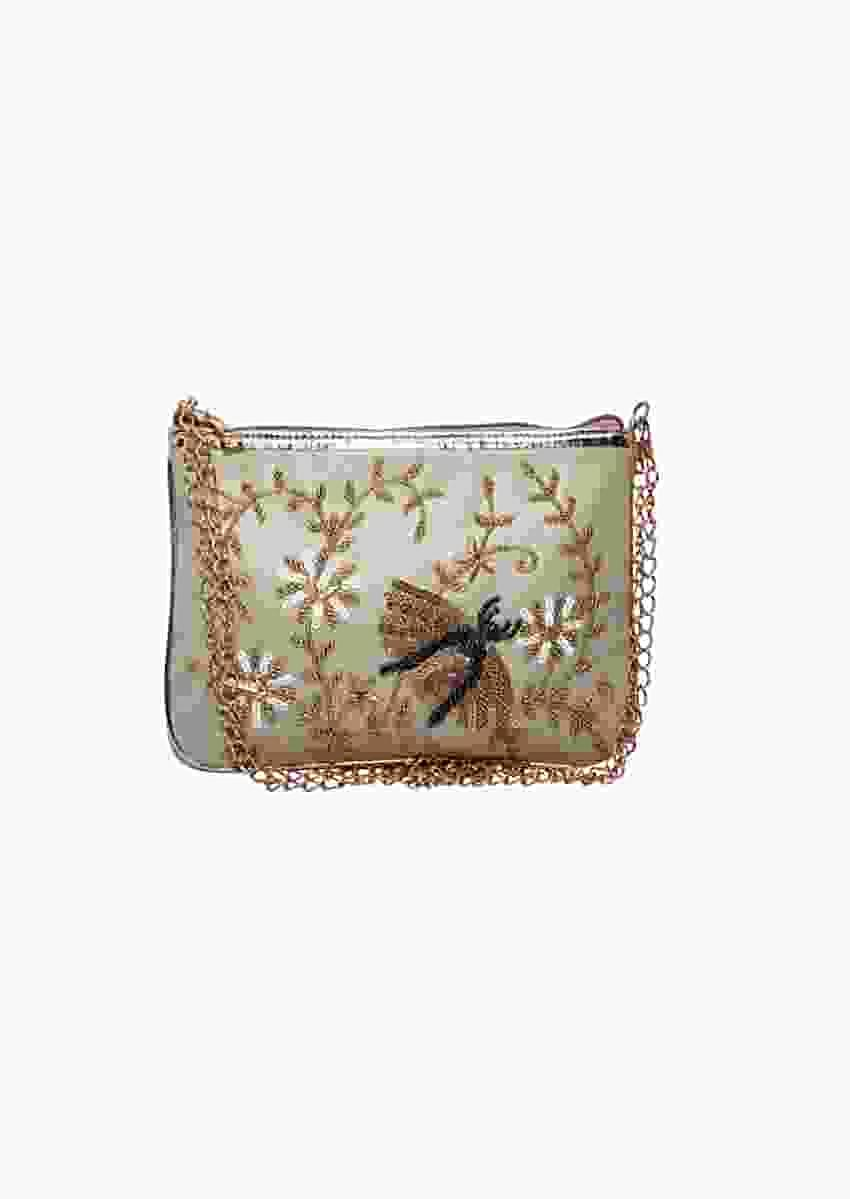 Cream Clutch In Silk With Sequins Embroidered Bee Motif By Pink Cocktail