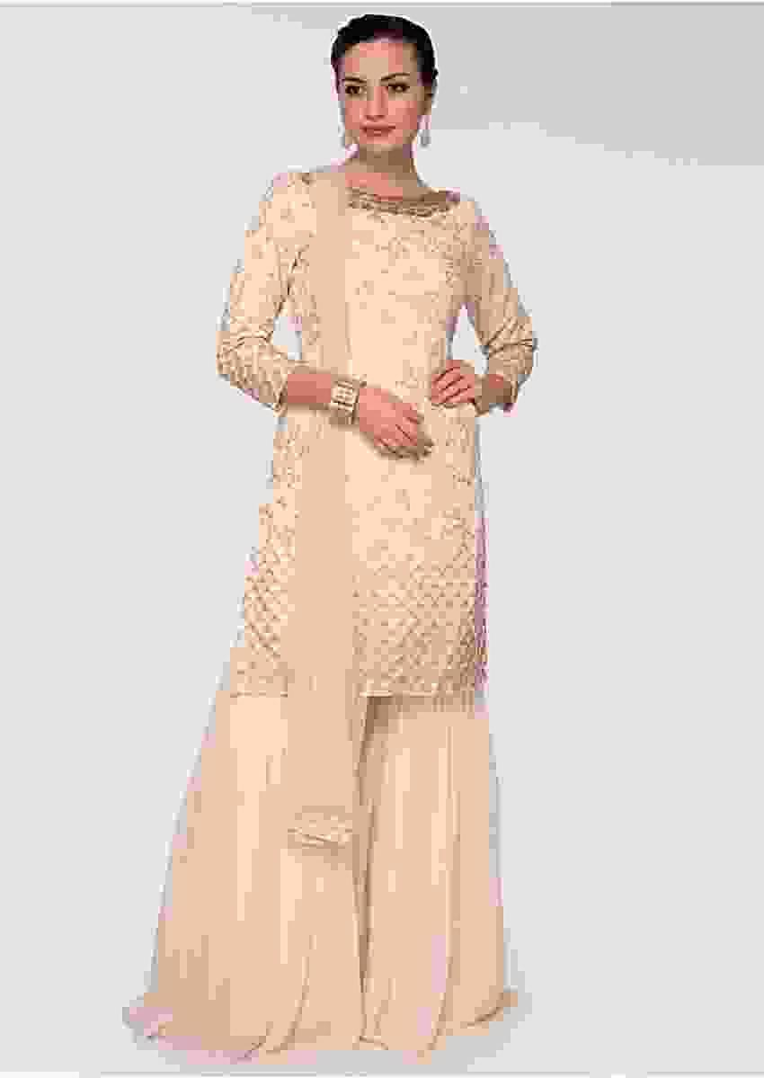 Cream georgette suit with zari embroidery in floral and geometric motif