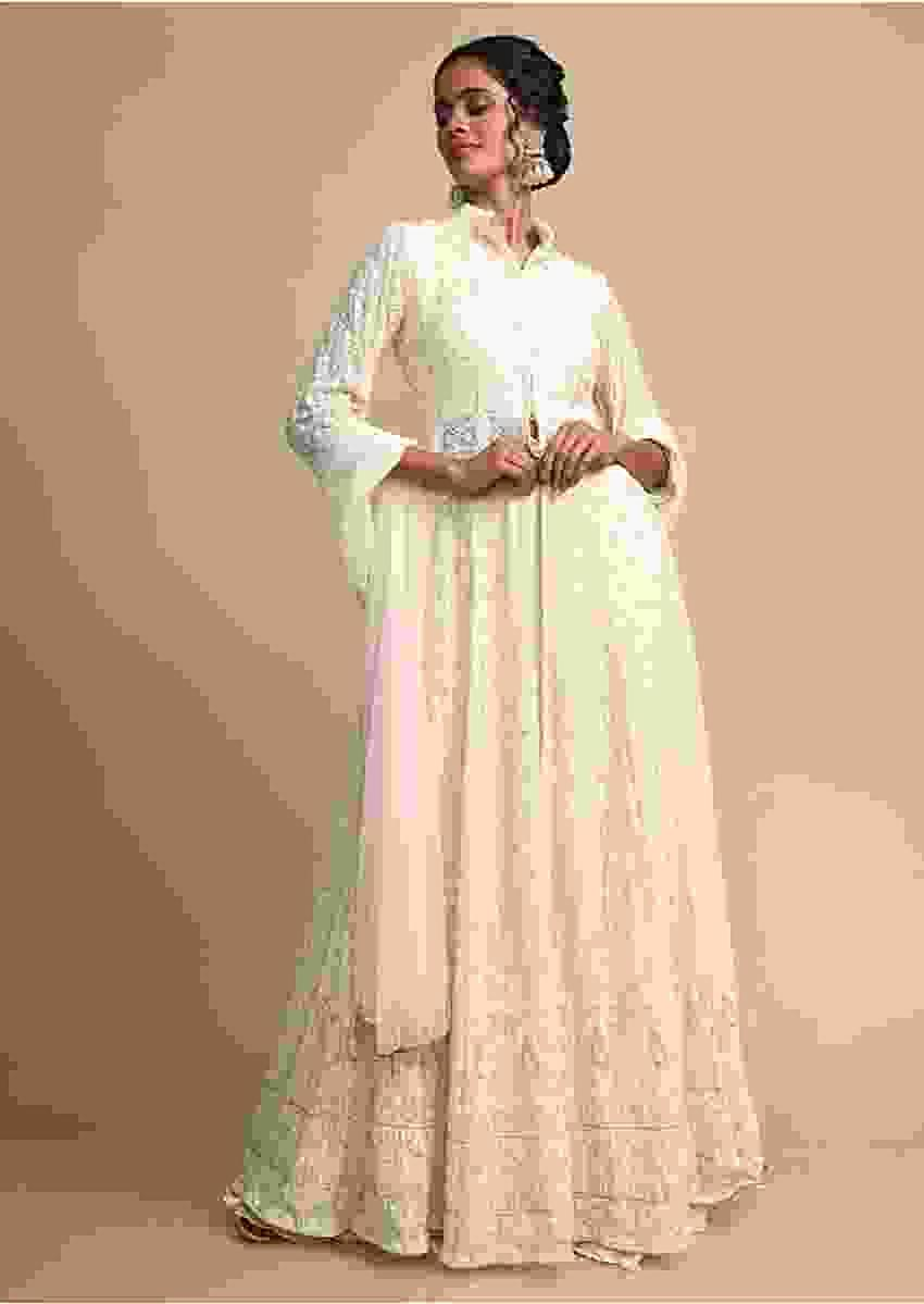 Cream Jacket Anarkali Suit With Lucknowi Embroidery And Shaded Palazzo Pants Online - Kalki Fashion