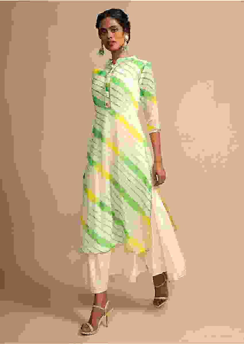 Cream Kurti With Green And Yellow Tie-Dye Print And Cotton Anarkali Inner Online - Kalki Fashion