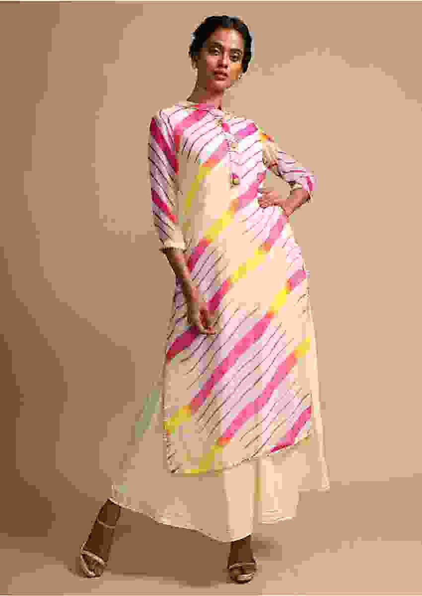 Cream Kurti With Pink And Yellow Tie-Dye Print And Cotton Anarkali Inner Online - Kalki Fashion