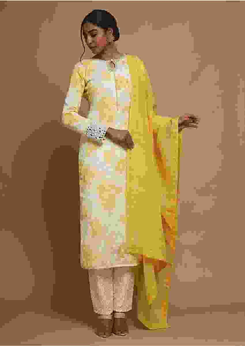 Cream Straight Cut Suit In Cotton With Yellow Floral Print And Mirror Highlighted Cuffs Online - Kalki Fashion
