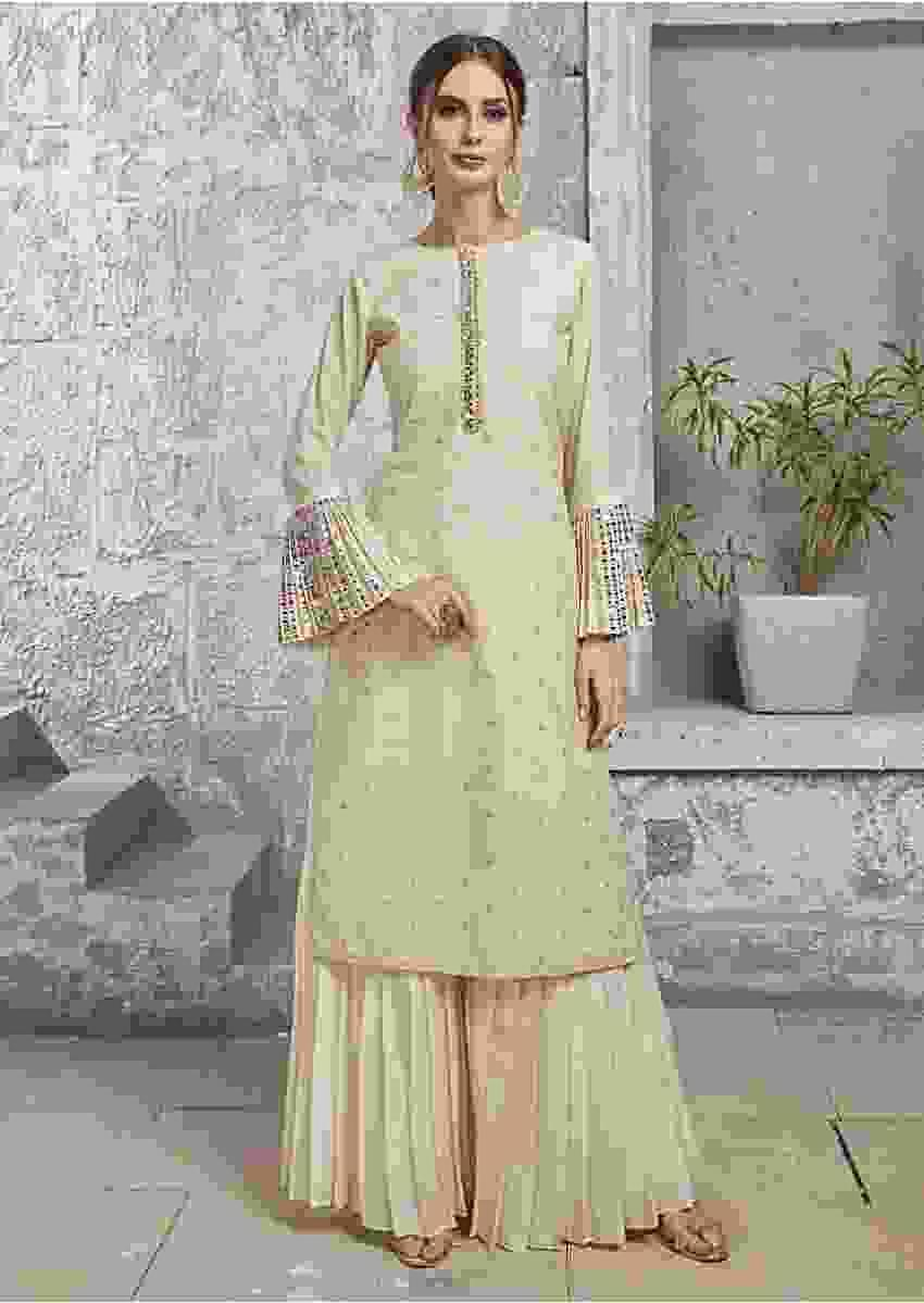 Cream Straight Suit In Cotton Silk With Mirror And Resham Embroidered Placket Online - Kalki Fashion