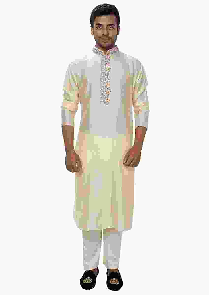 Cream Kurta Set With Threadwork Embroidery Online - Kalki Fashion