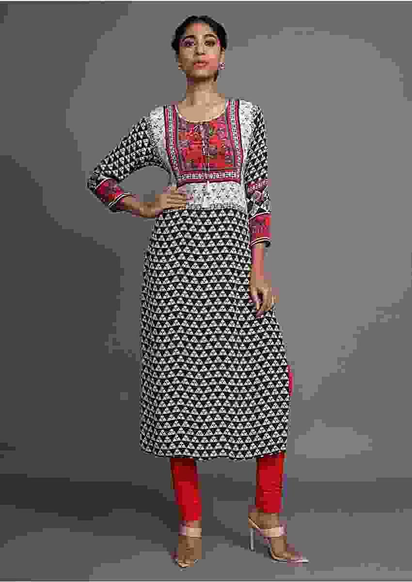 Cream Tunic With Black Geometric Print And Red Floral Printed Yoke Online - Kalki Fashion