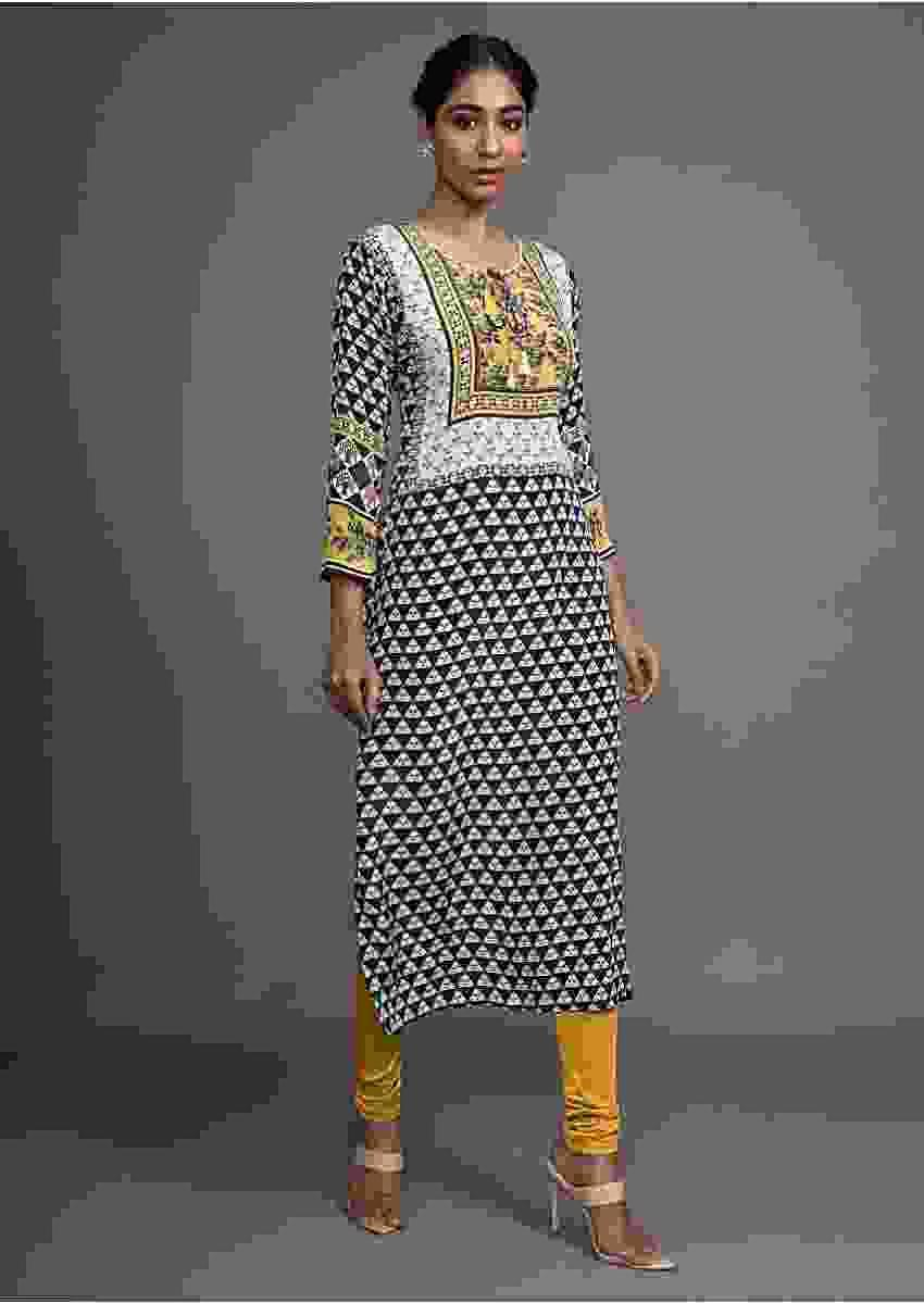 Cream Tunic With Black Geometric Print And Yellow Floral Printed Yoke Online - Kalki Fashion