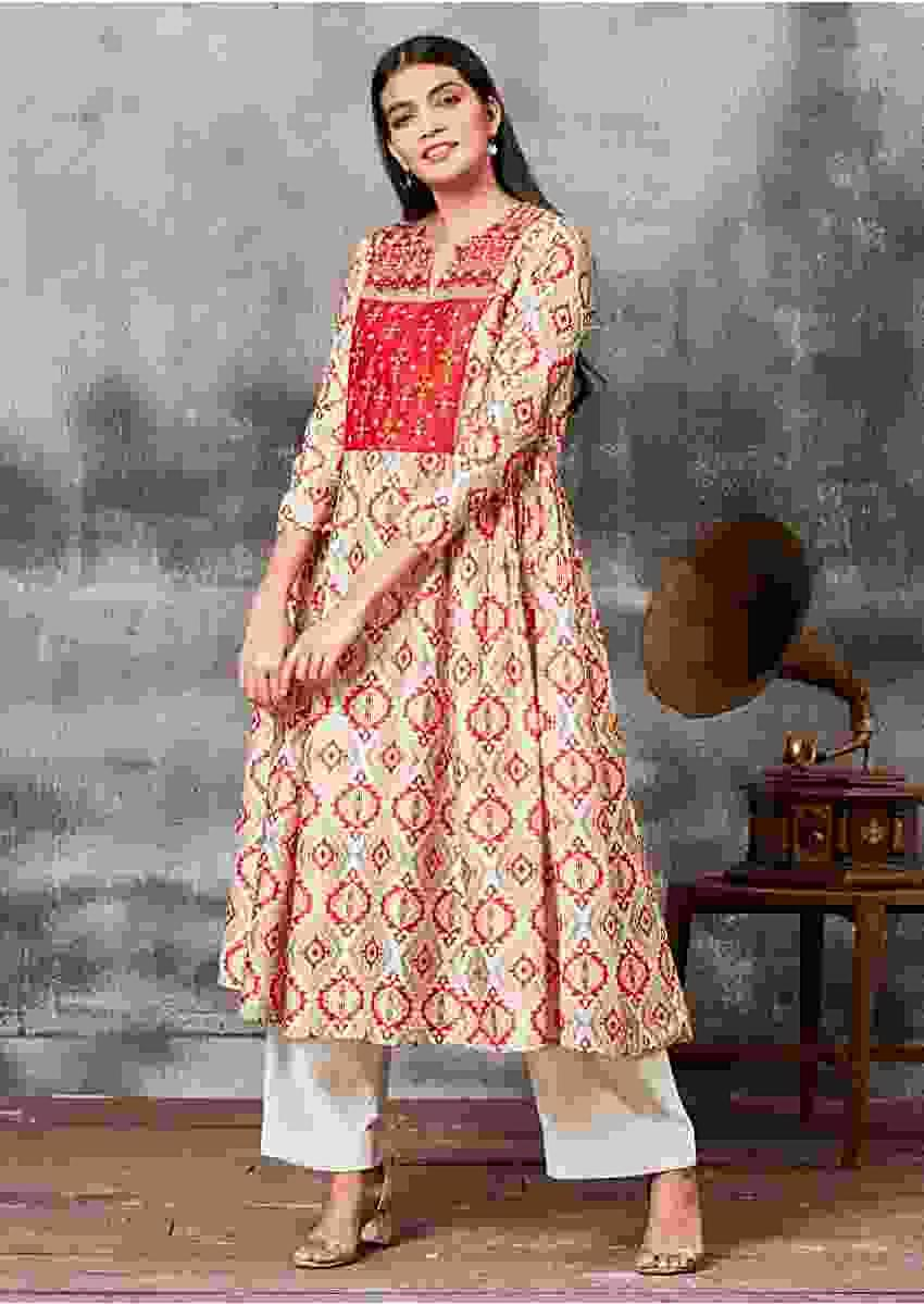 Cream White Anarkali Suit With Ethnic Print And Thread Embroidery Online - Kalki Fashion